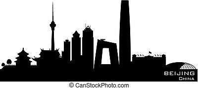 Beijing China city skyline vector silhouette - Beijing China...