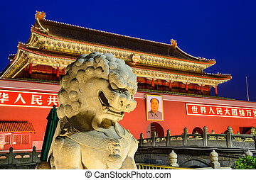 Tiananmen Gate - BEIJING, CHINA - JUNE 27, 2014: A lion...