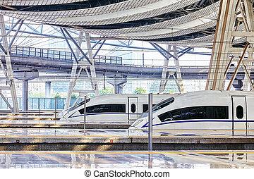 beijing, china-, mai, 23, 2015:, hoher geschwindigkeit zug,...