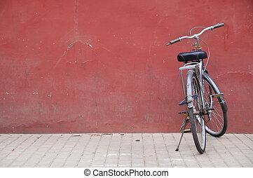 beijing, chinees, stad, verboden, buiten, fiets