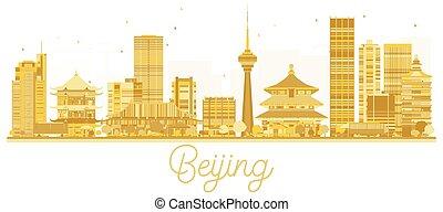 Beijing City skyline golden silhouette.