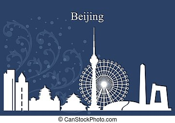 Beijing city skyline silhouette on blue background