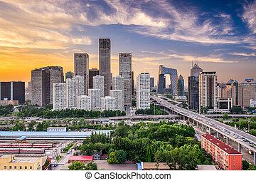 beijing, contorno, distrito financiero