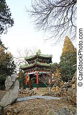 Touhu Pavilion building landscape, in the Zhongshan Park, on Dec