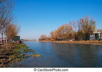 Beijing District icy river