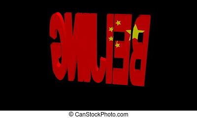 beijing, drapeau, tourner, animation, texte
