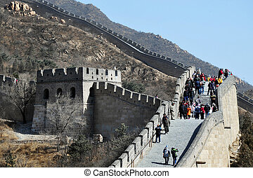 BEIJING - MARCH 10:Visitors walks near a watchtower on the Great Wall of China on March 10 2008. There are more than 10,000 watchtowers and beacon towers along the Great Wall