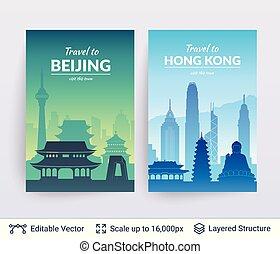 beijing, hong, scapes., ciudad, kong, famoso