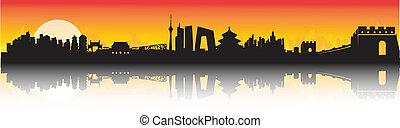 beijing, horizon, coucher soleil