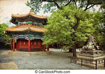Beijing, Lama temple - Beautiful view of the Lama temple in...