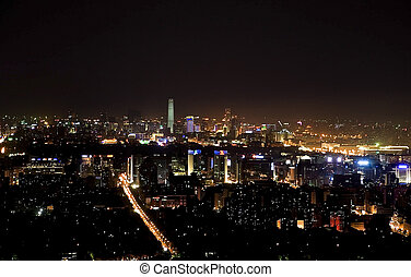 beijing night scene - Night scene panoramic view of beijing...