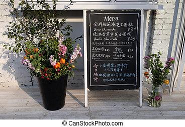 beijing, ofrendas, pizarra, china, beijing, chaoyang, zona, restaurante, camino, arte, jiuxianqiao, 798