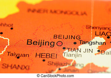Beijing on map - Closeup of Beijing, China on map