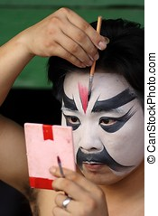Opera performer in makeup. - Beijing Opera performer in...