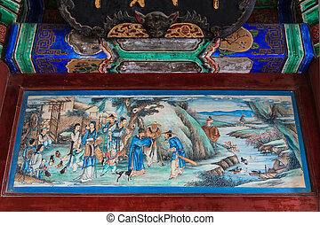 beijing, peinture, palais, été