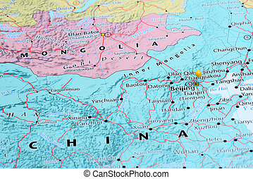 Beijing pinned on a map of Asia