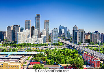 beijing, porcelaine, district financier, horizon