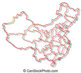 beijing, porcelana, highlighted, mapa