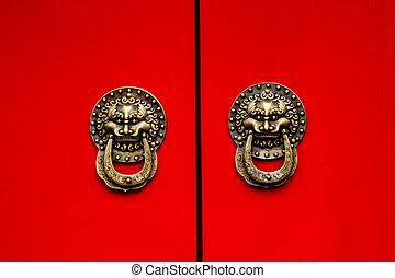 beijing, puerta, dragón, símbolos, lago, houhai, florido,...