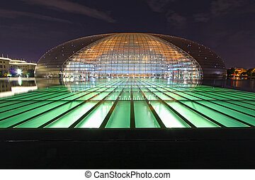 Beijing September 13?The National Grand Theatre and the Great Hall of the people at night on September 13, 2012, in Beijing, china
