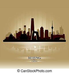 beijing, silhouette, skyline città, vettore, porcellana