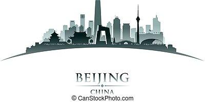 beijing, silhouette, stadt skyline, porzellan, hintergrund, weißes