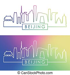 beijing, skyline., barwny, linearny, style.