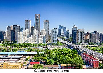 beijing, skyline, financeiro, china, distrito
