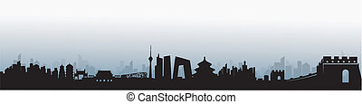 beijing, skyline, vetorial