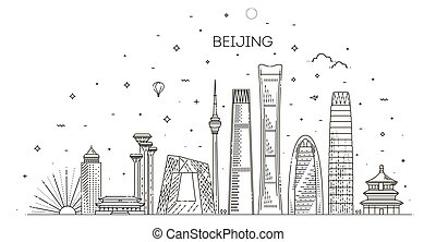 Cityscape with all famous buildings. Skyline Beijing city composition for design