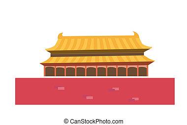 beijing, tiananmen, béke, kína, égi, kapu