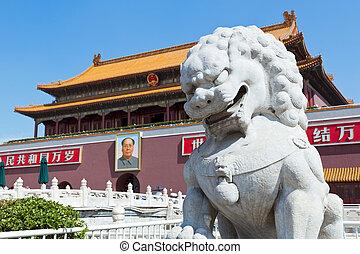 beijing, tiananmen kanthugger, förbjuden stad