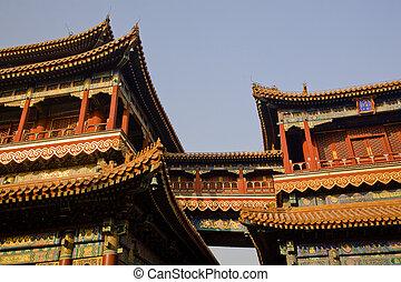 beijing, yonghe, gong, budista, china, templo
