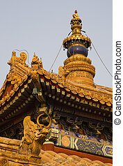 beijing, yonghe, gong, techos, budista, figuras, aguja,...