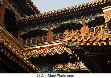beijing, yonghe, gong, techos, budista, figuras, china,...