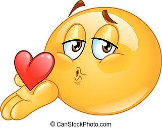 beijo, macho, soprando, emoticon