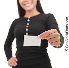 beiläufig, geschäftsfrau, ausstellung, leere visitkarte