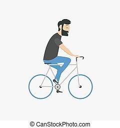 beiläufig, man, fahrrad reitet