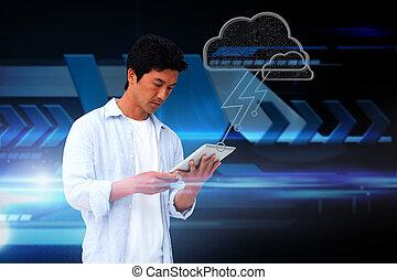 beiläufig, mann, gebrauchend, tablette, mit, wolke, grafik