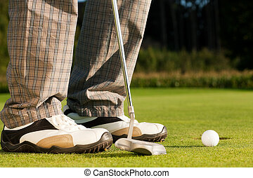 beim, spieler, golf, einlochen