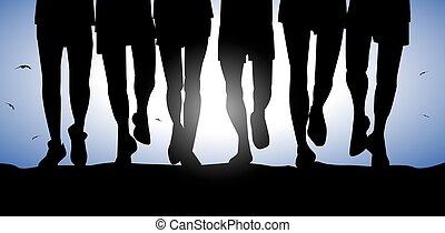 beine, mann, silhouette, rennender