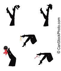 beine, silhouette, damen
