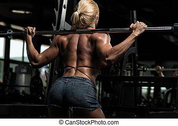 beine, workout, frau, hocken