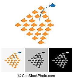 Being different, taking risky, bold move for success in life - Concept vector