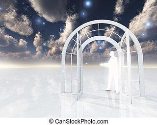 Being of light gestures through doorway