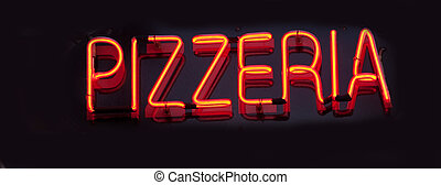 "Being shone inscription ""Pizzeria"" on a black background"