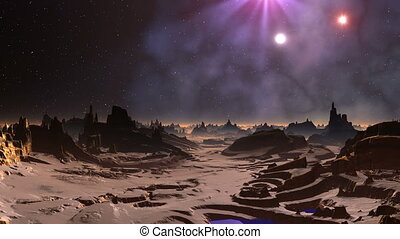 Being shone UFOs - Rocky landscape, lakes, fog over the...