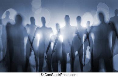 Beings - Blurry image of nightmarish alien beings.