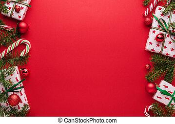 beira vermelha, fundo, natal