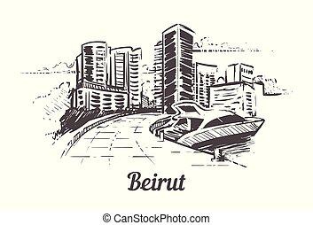 Beirut hand drawn sketch vector illustration isolated on white background.